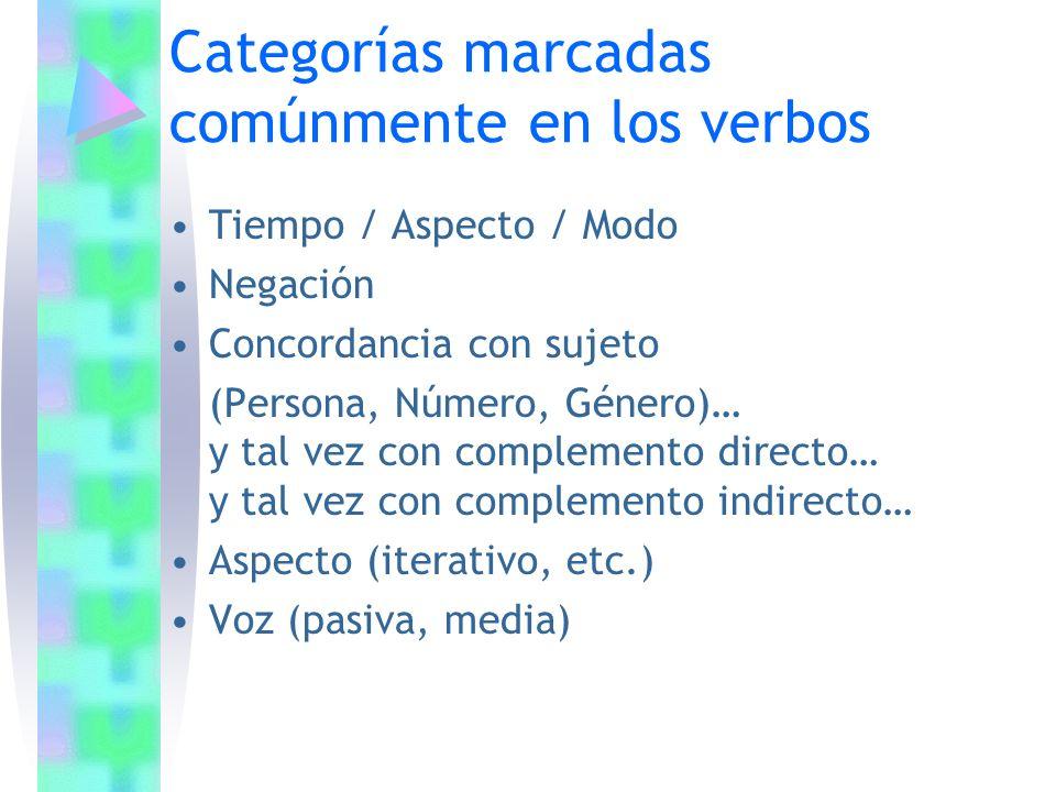 Categorías marcadas comúnmente en los verbos Tiempo / Aspecto / Modo Negación Concordancia con sujeto (Persona, Número, Género)… y tal vez con complem
