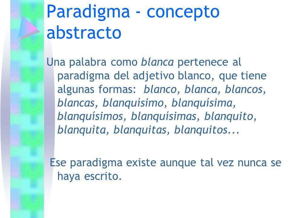 Paradigma - concepto abstracto Una palabra como blanca pertenece al paradigma del adjetivo blanco, que tiene algunas formas: blanco, blanca, blancos,