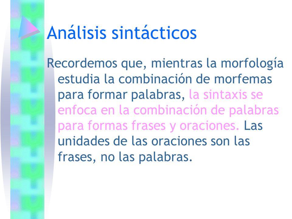 Análisis sintácticos Recordemos que, mientras la morfología estudia la combinación de morfemas para formar palabras, la sintaxis se enfoca en la combi