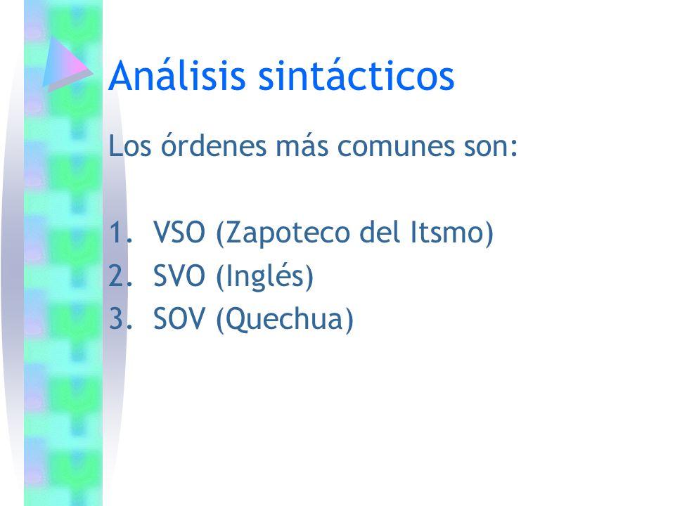 Análisis sintácticos Los órdenes más comunes son: 1.VSO (Zapoteco del Itsmo) 2.SVO (Inglés) 3.SOV (Quechua)