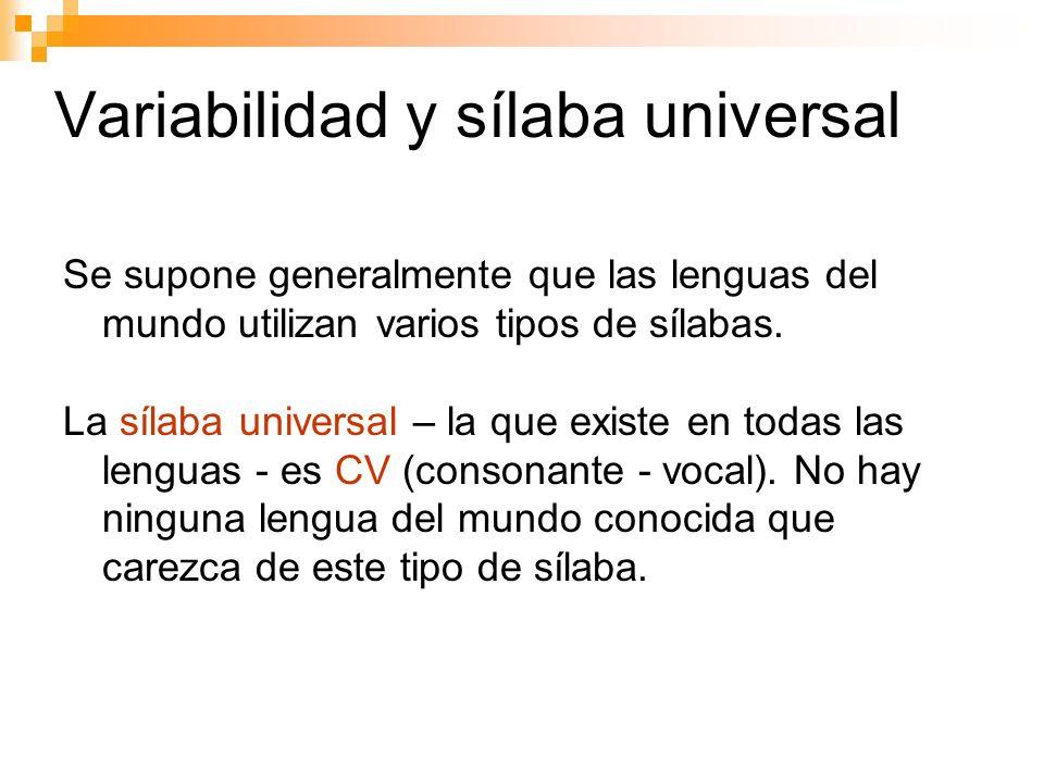 La sílaba - hipótesis La plantilla silábica máxima: es el modelo que abarca todas las sílabas posibles de una lengua.