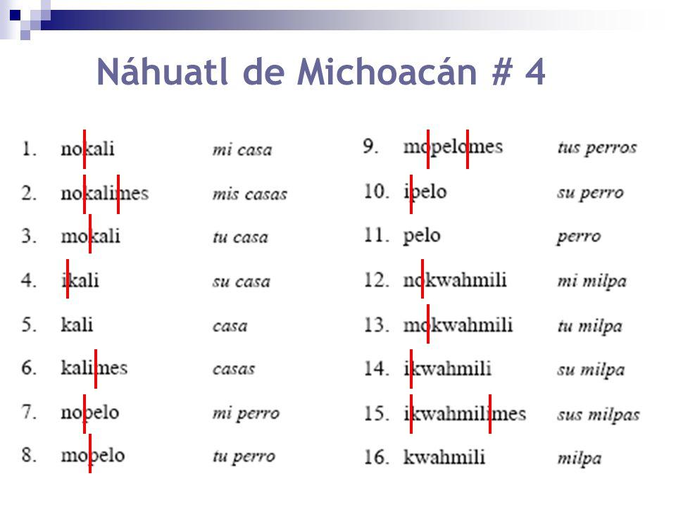 Diagrama de clases posicionales PERSONA SUJETO RAÍZNÚMERO no- 1S mo- 2S i- 3S kali casa pelo perro kwahmili milpa -mes Pl.