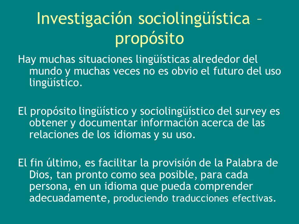 Investigación sociolingüística – propósito Hay muchas situaciones lingüísticas alrededor del mundo y muchas veces no es obvio el futuro del uso lingüí