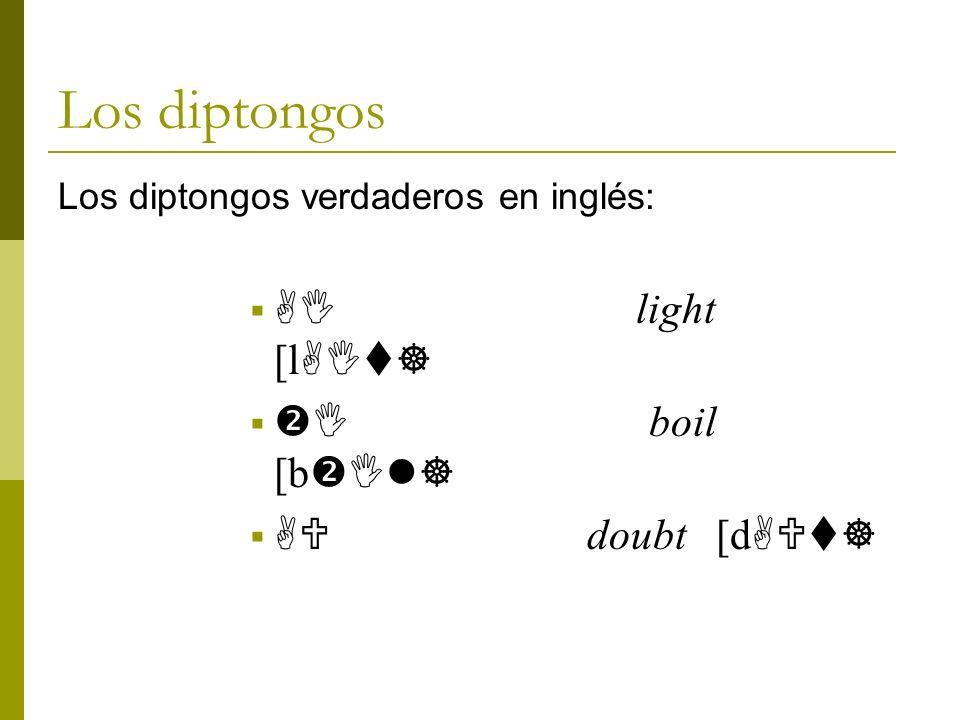 Los diptongos Los diptongos verdaderos en inglés: AI light [l AIt] I boil [b Il] AU doubt [d AUt]