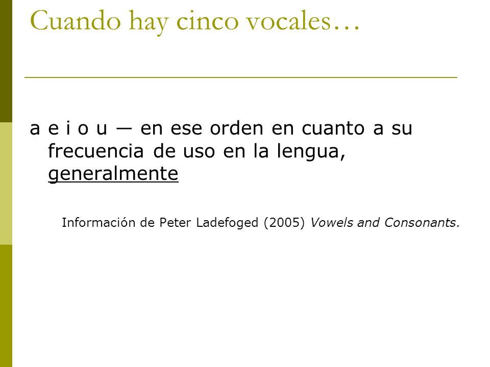 Cuando hay cinco vocales… a e i o u en ese orden en cuanto a su frecuencia de uso en la lengua, generalmente Información de Peter Ladefoged (2005) Vow
