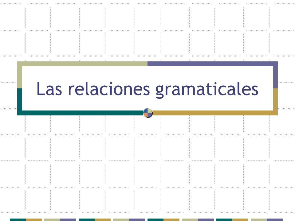 Las frases nominales se clasifican según la función gramatical que desempeñan en la oración básica, especialmente su relación con el verbo, en: Sujeto (S) Objeto directo (OD) Objeto indirecto (OI) Las relaciones gramaticales