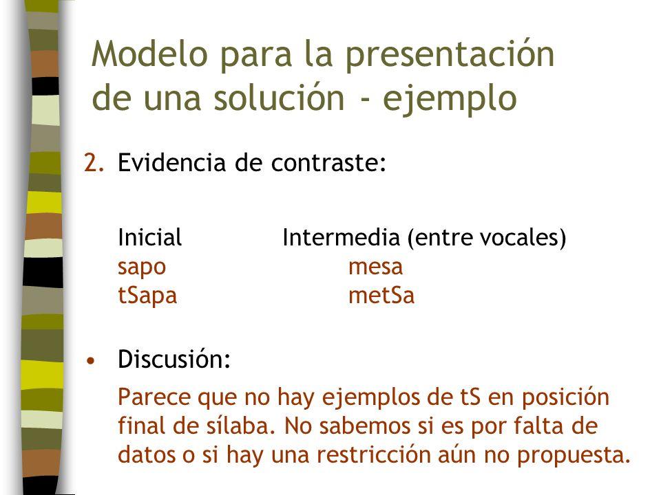 2.Evidencia de contraste: InicialIntermedia (entre vocales) sapomesa tSapametSa Discusión: Parece que no hay ejemplos de tS en posición final de sílab