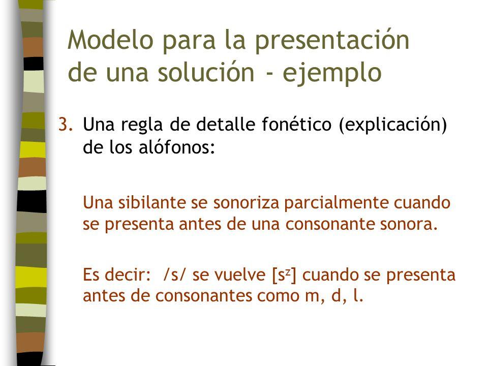 3.Una regla de detalle fonético (explicación) de los alófonos: Una sibilante se sonoriza parcialmente cuando se presenta antes de una consonante sonor
