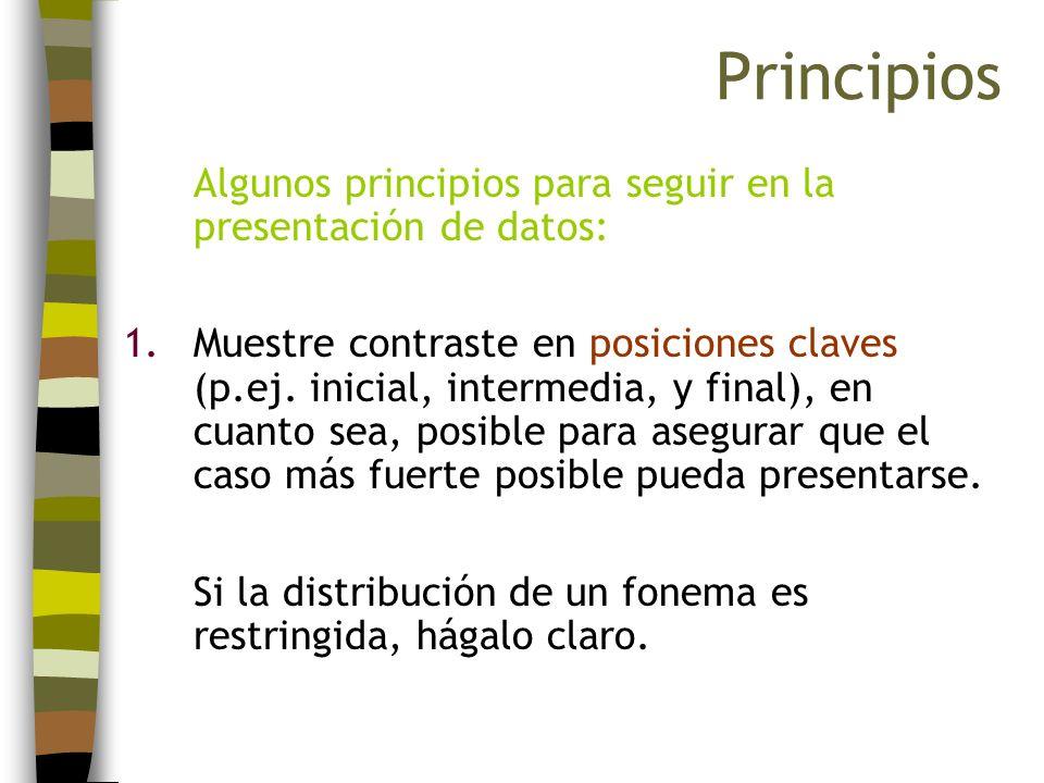 Algunos principios para seguir en la presentación de datos: 1.Muestre contraste en posiciones claves (p.ej. inicial, intermedia, y final), en cuanto s