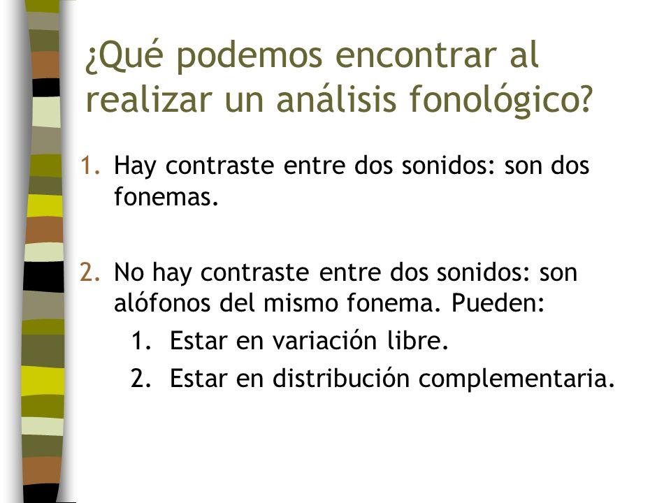 ¿Qué podemos encontrar al realizar un análisis fonológico? 1.Hay contraste entre dos sonidos: son dos fonemas. 2.No hay contraste entre dos sonidos: s