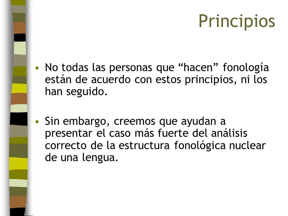 No todas las personas que hacen fonología están de acuerdo con estos principios, ni los han seguido. Sin embargo, creemos que ayudan a presentar el ca
