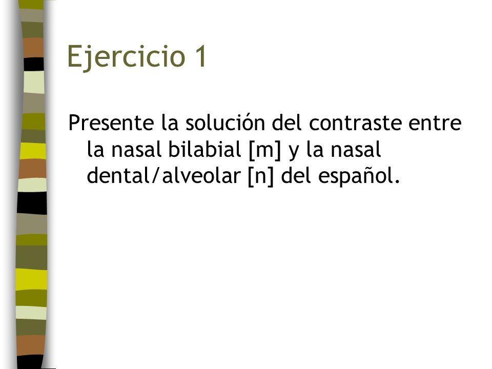 Ejercicio 1 Presente la solución del contraste entre la nasal bilabial [m] y la nasal dental/alveolar [n] del español.