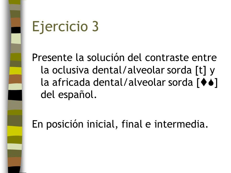 Ejercicio 3 Presente la solución del contraste entre la oclusiva dental/alveolar sorda [t] y la africada dental/alveolar sorda [ ] del español. En pos