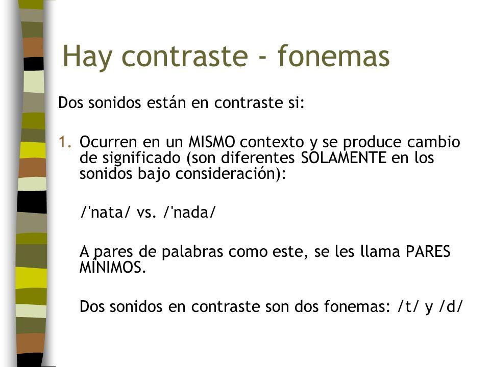 Hay contraste - fonemas Dos sonidos están en contraste si: 1.Ocurren en un MISMO contexto y se produce cambio de significado (son diferentes SOLAMENTE