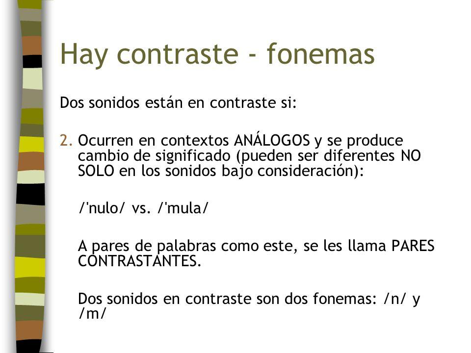 Hay contraste - fonemas Dos sonidos están en contraste si: 2.Ocurren en contextos ANÁLOGOS y se produce cambio de significado (pueden ser diferentes N