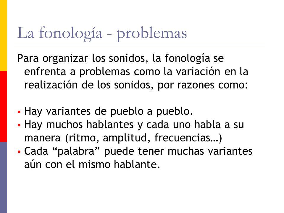 La fonología - problemas Para organizar los sonidos, la fonología se enfrenta a problemas como la variación en la realización de los sonidos, por razo