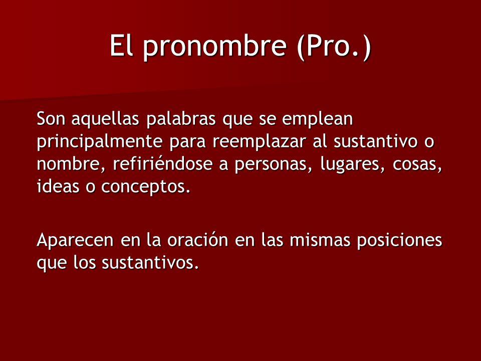 El pronombre (Pro.) Son aquellas palabras que se emplean principalmente para reemplazar al sustantivo o nombre, refiriéndose a personas, lugares, cosa
