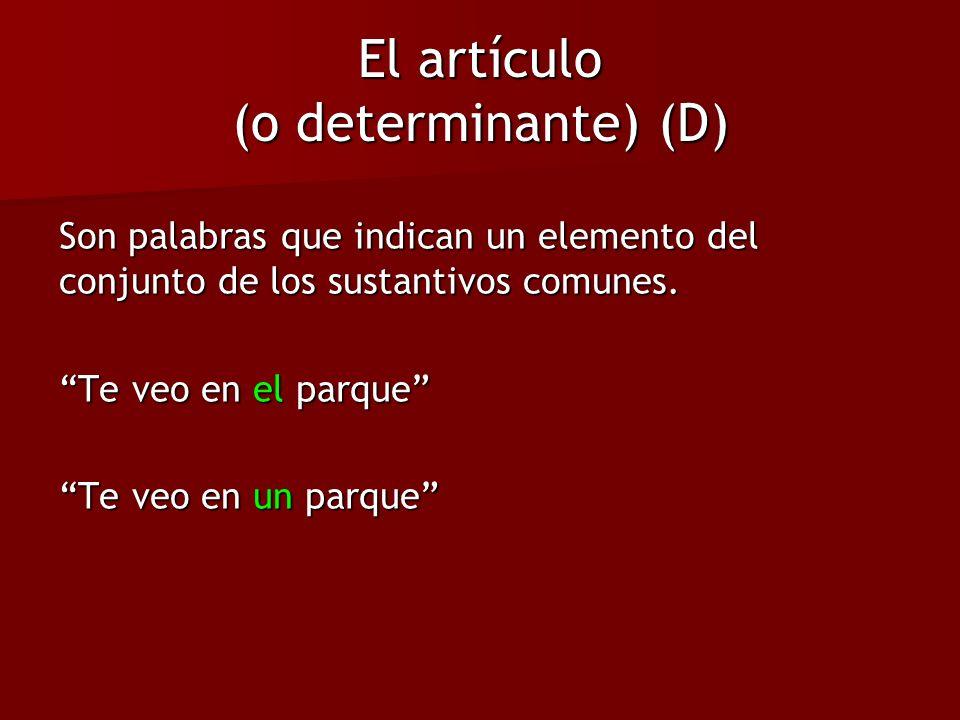 El artículo (o determinante) (D) Son palabras que indican un elemento del conjunto de los sustantivos comunes. Te veo en el parque Te veo en un parque