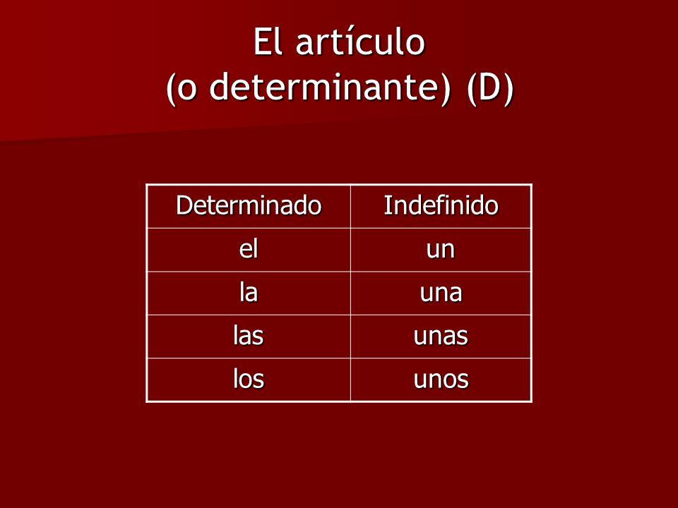 DeterminadoIndefinido elun launa lasunas losunos El artículo (o determinante) (D)