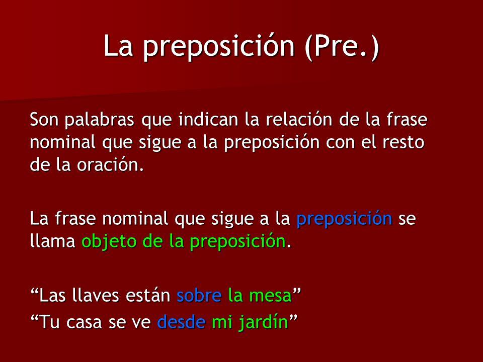 La preposición (Pre.) Son palabras que indican la relación de la frase nominal que sigue a la preposición con el resto de la oración. La frase nominal