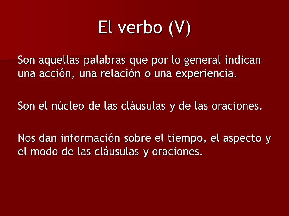 El verbo (V) Son aquellas palabras que por lo general indican una acción, una relación o una experiencia. Son el núcleo de las cláusulas y de las orac