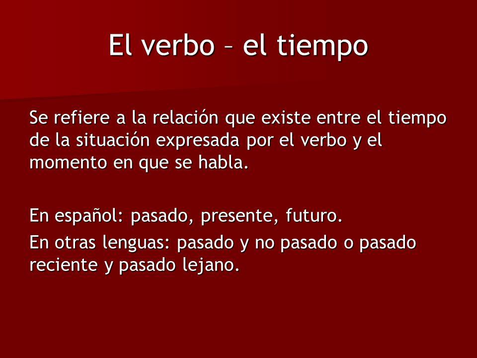 El verbo – el tiempo Se refiere a la relación que existe entre el tiempo de la situación expresada por el verbo y el momento en que se habla. En españ