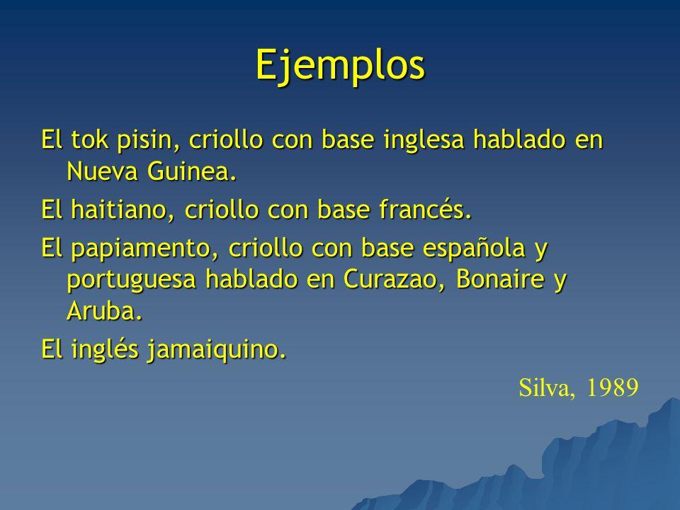Ejemplos El tok pisin, criollo con base inglesa hablado en Nueva Guinea. El haitiano, criollo con base francés. El papiamento, criollo con base españo