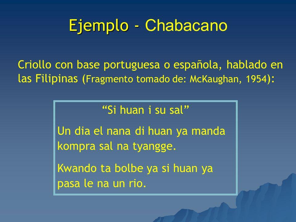 Ejemplo - Ejemplo - Chabacano Criollo con base portuguesa o española, hablado en las Filipinas ( Fragmento tomado de: McKaughan, 1954 ): Si huan i su