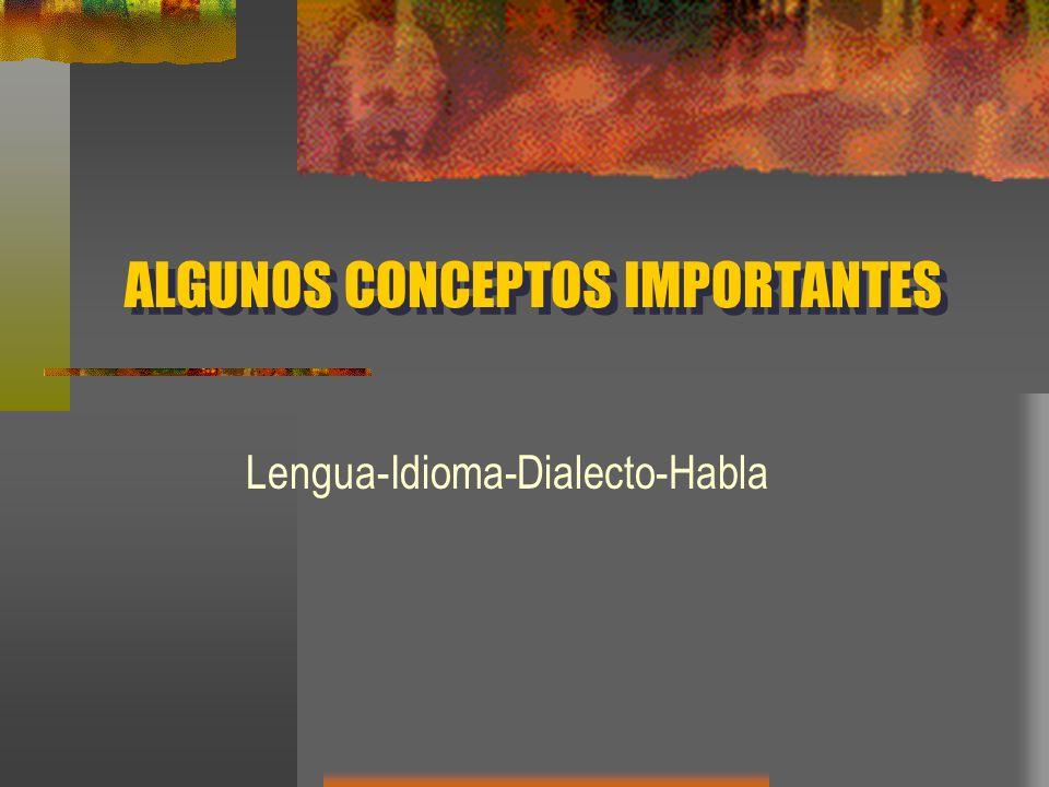 ALGUNOS CONCEPTOS IMPORTANTES Lengua-Idioma-Dialecto-Habla