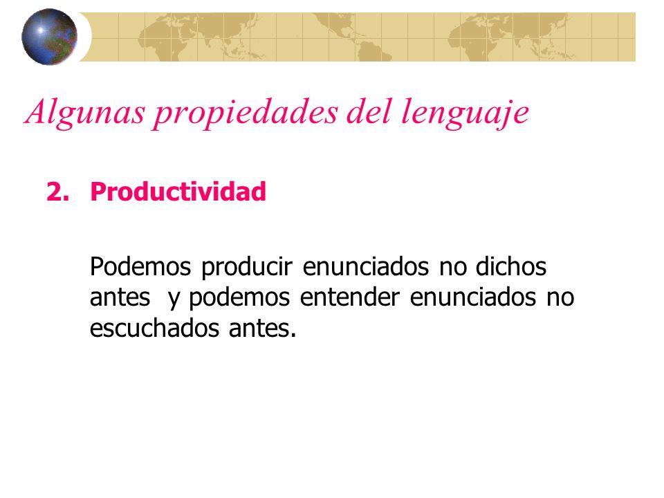 Algunas propiedades del lenguaje 2.Productividad Podemos producir enunciados no dichos antes y podemos entender enunciados no escuchados antes.
