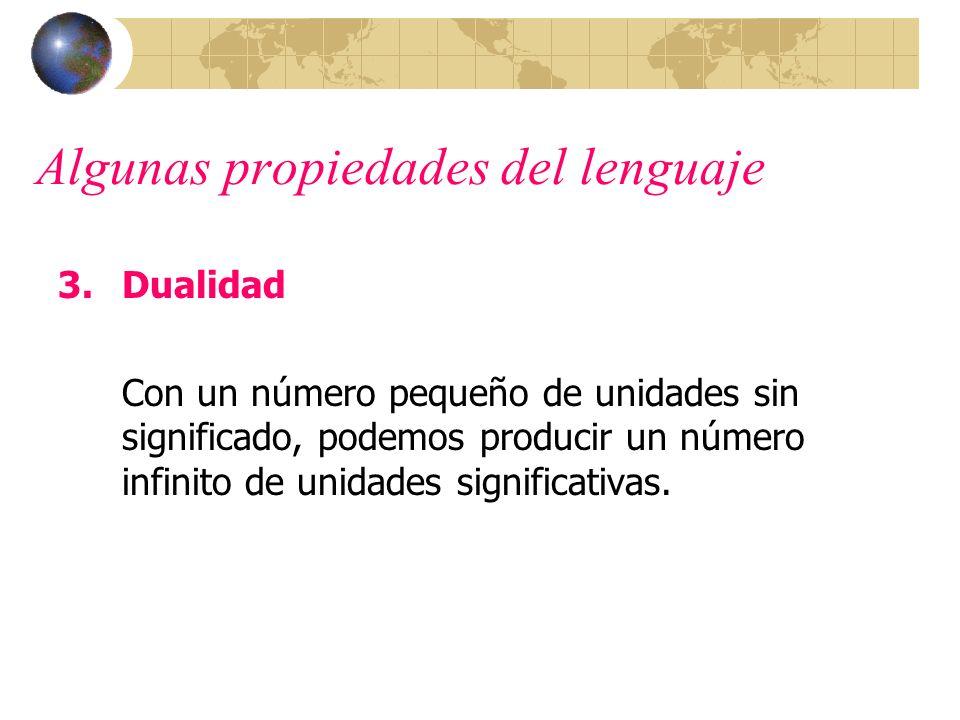 Algunas propiedades del lenguaje 3.Dualidad Con un número pequeño de unidades sin significado, podemos producir un número infinito de unidades signifi