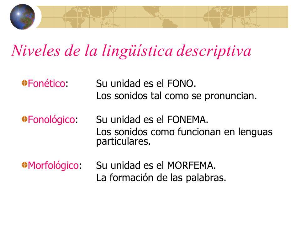 Niveles de la lingüística descriptiva Fonético:Su unidad es el FONO. Los sonidos tal como se pronuncian. Fonológico:Su unidad es el FONEMA. Los sonido