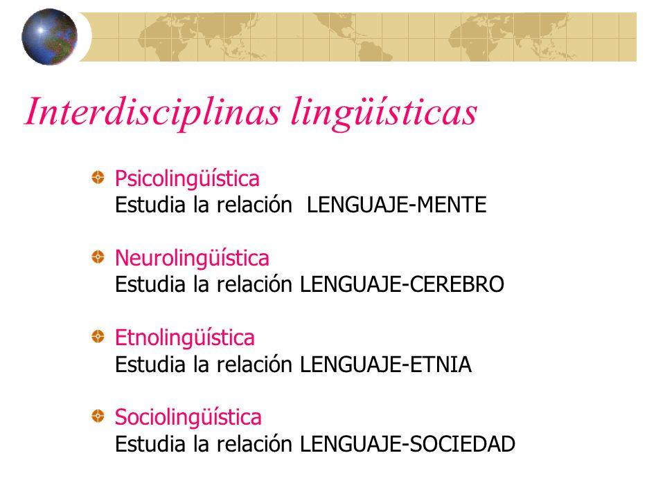 Interdisciplinas lingüísticas Psicolingüística Estudia la relación LENGUAJE-MENTE Neurolingüística Estudia la relación LENGUAJE-CEREBRO Etnolingüístic
