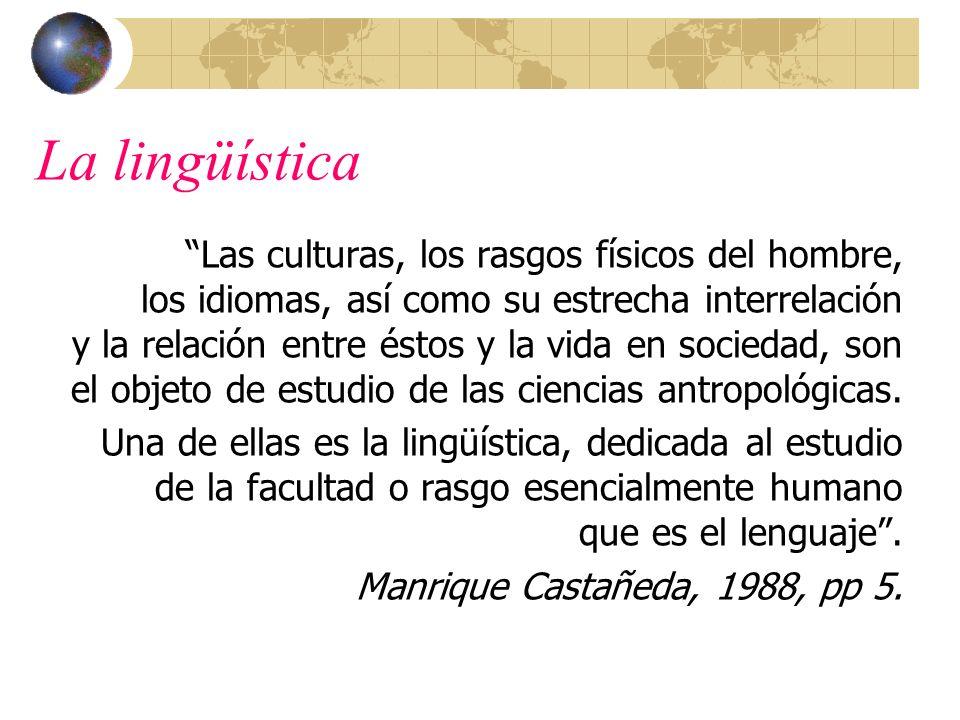 La lingüística Las culturas, los rasgos físicos del hombre, los idiomas, así como su estrecha interrelación y la relación entre éstos y la vida en soc