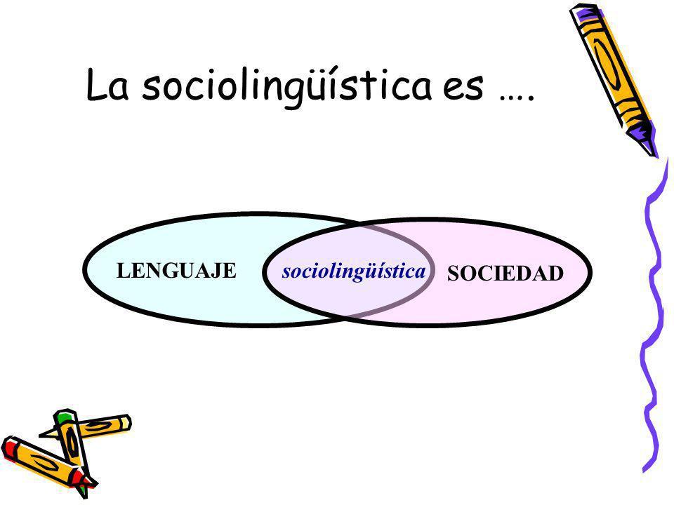 La sociolingüística es …. LENGUAJE SOCIEDAD sociolingüística