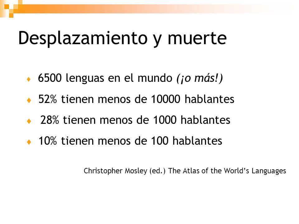 Desplazamiento Cuando una comunidad comienza a utilizar una nueva lengua (lengua de comunicación amplia o LCA) en dominios reservados anteriormente para la lengua materna (L1).
