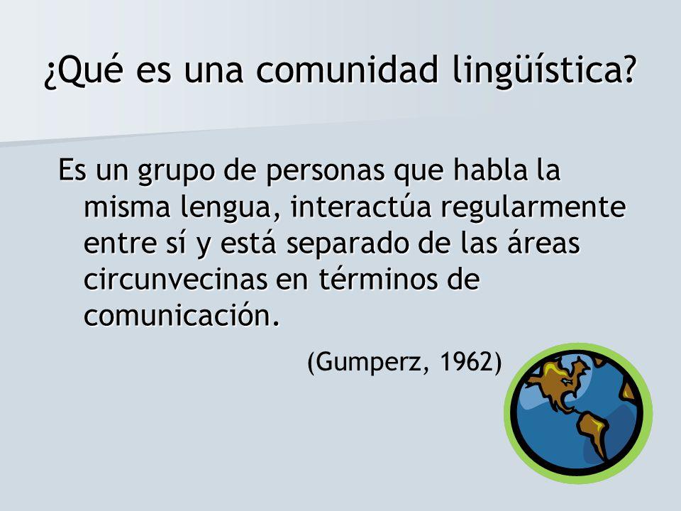 ¿Qué es una comunidad lingüística? Es un grupo de personas que habla la misma lengua, interactúa regularmente entre sí y está separado de las áreas ci