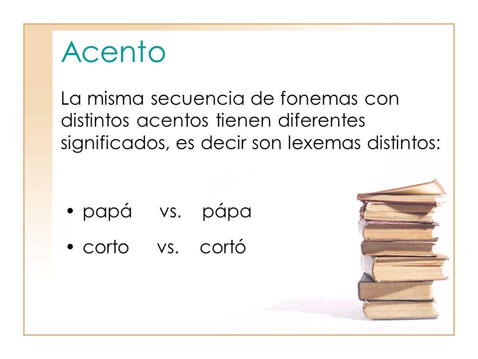 Acento papá vs.pápa corto vs.