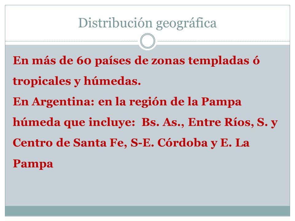 Distribución geográfica En más de 60 países de zonas templadas ó tropicales y húmedas. En Argentina: en la región de la Pampa húmeda que incluye: Bs.