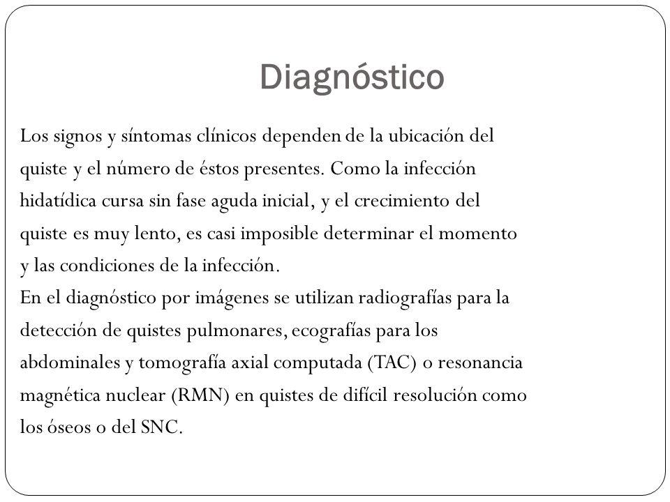 Diagnóstico Los signos y síntomas clínicos dependen de la ubicación del quiste y el número de éstos presentes. Como la infección hidatídica cursa sin