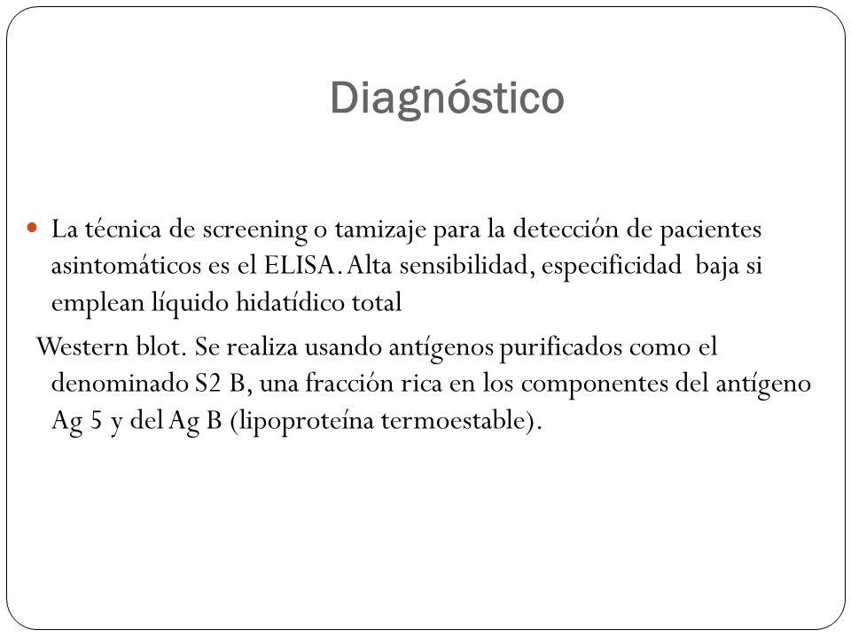 Diagnóstico La técnica de screening o tamizaje para la detección de pacientes asintomáticos es el ELISA. Alta sensibilidad, especificidad baja si empl
