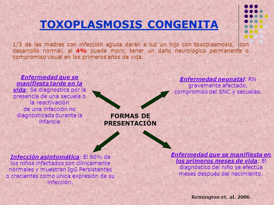 TOXOPLASMOSIS CONGENITA 1/3 de las madres con infección aguda darán a luz un hijo con toxoplasmosis, con desarrollo normal; el 4% puede morir, tener u