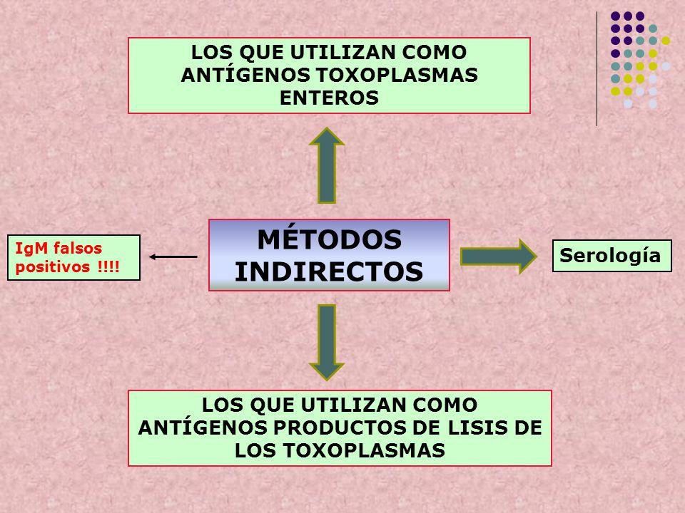 MÉTODOS INDIRECTOS LOS QUE UTILIZAN COMO ANTÍGENOS TOXOPLASMAS ENTEROS LOS QUE UTILIZAN COMO ANTÍGENOS PRODUCTOS DE LISIS DE LOS TOXOPLASMAS IgM falso