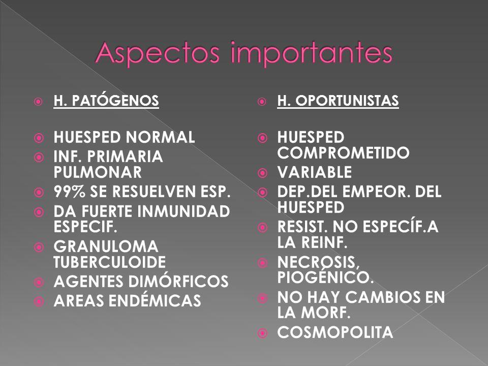 H. PATÓGENOS HUESPED NORMAL INF. PRIMARIA PULMONAR 99% SE RESUELVEN ESP. DA FUERTE INMUNIDAD ESPECIF. GRANULOMA TUBERCULOIDE AGENTES DIMÓRFICOS AREAS