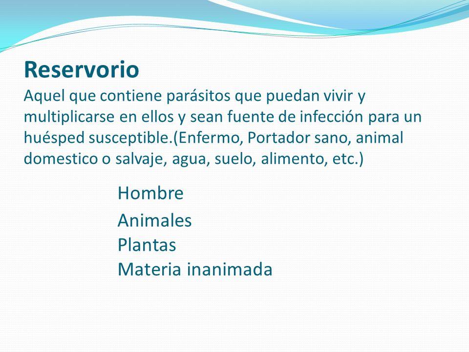 Reservorio Aquel que contiene parásitos que puedan vivir y multiplicarse en ellos y sean fuente de infección para un huésped susceptible.(Enfermo, Por
