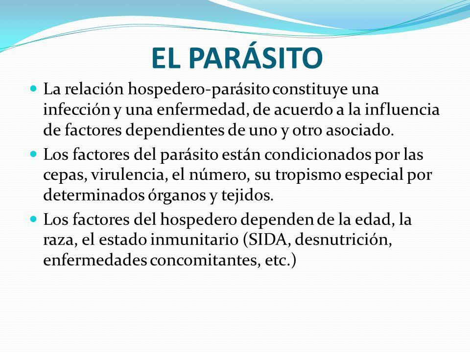 EL PARÁSITO La relación hospedero-parásito constituye una infección y una enfermedad, de acuerdo a la influencia de factores dependientes de uno y otr