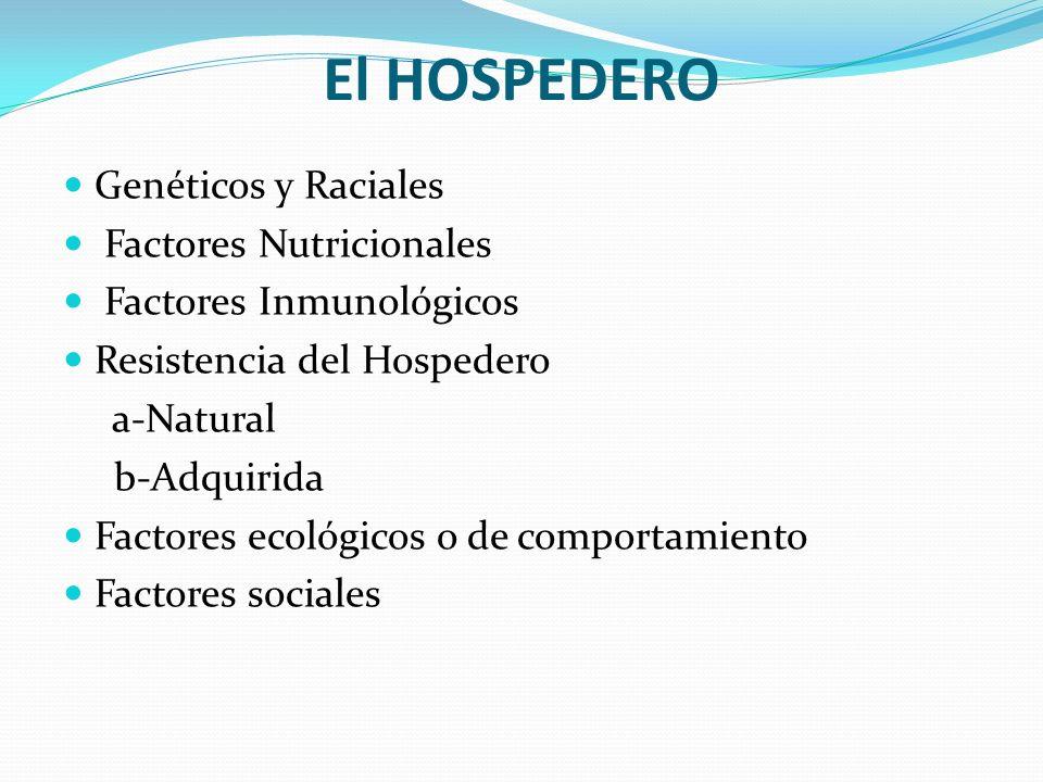 El HOSPEDERO Genéticos y Raciales Factores Nutricionales Factores Inmunológicos Resistencia del Hospedero a-Natural b-Adquirida Factores ecológicos o
