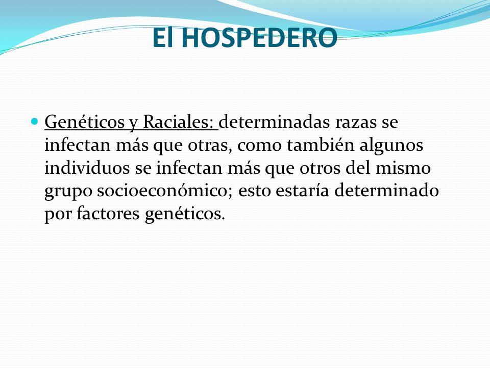 El HOSPEDERO Genéticos y Raciales: determinadas razas se infectan más que otras, como también algunos individuos se infectan más que otros del mismo g