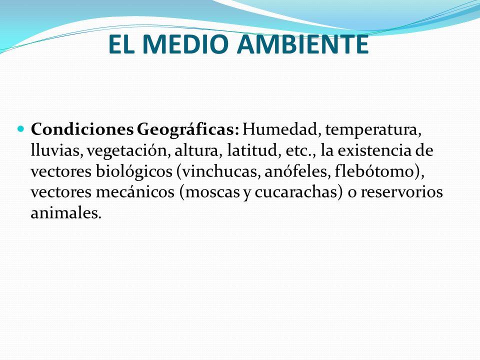 EL MEDIO AMBIENTE Condiciones Geográficas: Humedad, temperatura, lluvias, vegetación, altura, latitud, etc., la existencia de vectores biológicos (vin