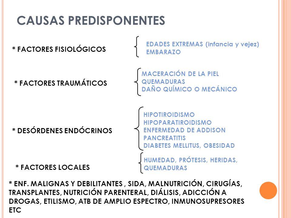 * DESÓRDENES ENDÓCRINOS * FACTORES FISIOLÓGICOS EDADES EXTREMAS (infancia y vejez) EMBARAZO * FACTORES TRAUMÁTICOS MACERACIÓN DE LA PIEL QUEMADURAS DAÑO QUÍMICO O MECÁNICO HIPOTIROIDISMO HIPOPARATIROIDISMO ENFERMEDAD DE ADDISON PANCREATITIS DIABETES MELLITUS, OBESIDAD * ENF.